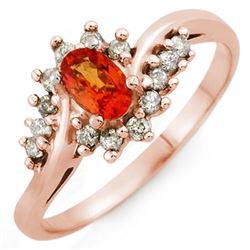 0.55 CTW Orange Sapphire & Diamond Ring 18K Rose Gold - REF-38X5T - 10101