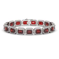 26.21 CTW Garnet & Diamond Halo Bracelet 10K White Gold - REF-301T8M - 41423