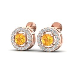 0.75 CTW Citrine & Micro Pave VS/SI Diamond Earrings Solitaire Halo 14K Rose Gold - REF-33W8F - 2005
