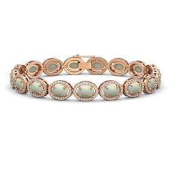14.24 CTW Opal & Diamond Halo Bracelet 10K Rose Gold - REF-298A2X - 40617