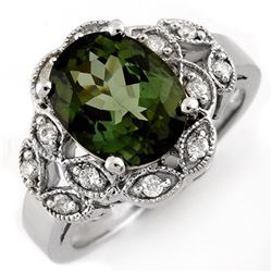 3.75 CTW Green Tourmaline & Diamond Ring 10K White Gold - REF-66Y9K - 10138