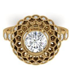 1.5 CTW Certified VS/SI Diamond Art Deco Ring 14K Yellow Gold - REF-382H4A - 30554