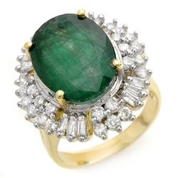 11.75 CTW Emerald & Diamond Ring 14K Yellow Gold - REF-246Y4K - 14412