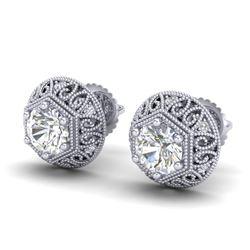 1.31 CTW VS/SI Diamond Solitaire Art Deco Stud Earrings 18K White Gold - REF-236W4F - 36920