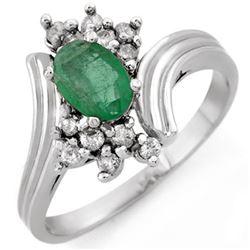 0.80 CTW Emerald & Diamond Ring 18K White Gold - REF-44F9N - 10664