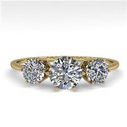 1 CTW Past Present Future Certified VS/SI Diamond Ring 18K Yellow Gold - REF-157K5W - 35905