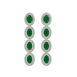 6.47 CTW Emerald & Diamond Halo Earrings 10K White Gold - REF-114T2M - 40502