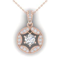 1.5 CTW Certified VS/SI Diamond Art Deco Stud Necklace 14K Rose Gold - REF-363T3M - 30454