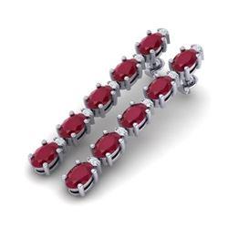 12.36 CTW Ruby & VS/SI Certified Diamond Tennis Earrings 10K White Gold - REF-89K3W - 29403
