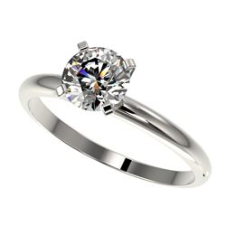 1 CTW Certified H-SI/I Quality Diamond Solitaire Engagement Ring 10K White Gold - REF-216A4X - 32884