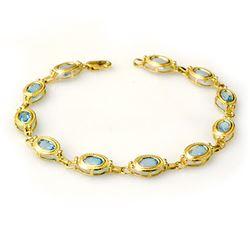 6.50 CTW Blue Topaz Bracelet 10K Yellow Gold - REF-37W8F - 14008