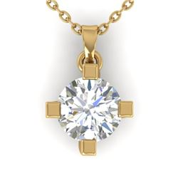 1 CTW Certified VS/SI Diamond Solitaire Necklace 14K Yellow Gold - REF-284F8N - 30404