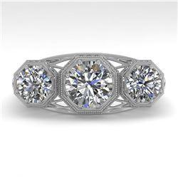 2 CTW Past Present Future VS/SI Diamond Ring 18K White Gold - REF-421Y6K - 36063