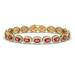 13.87 CTW Tourmaline & Diamond Halo Bracelet 10K Yellow Gold - REF-271X6T - 40471