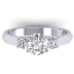 1.5 CTW Certified VS/SI Diamond Solitaire 3 Stone Ring 14K White Gold - REF-395W5F - 30312