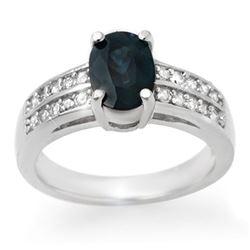 3.19 CTW Blue Sapphire & Diamond Ring 14K White Gold - REF-59N6Y - 13683