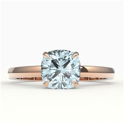 1.50 CTW Cushion Cut Sky Blue Topaz Solitaire Ring 14K Rose Gold - REF-22T2M - 22165