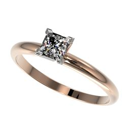 0.50 CTW Certified VS/SI Quality Princess Diamond Solitaire Ring 10K Rose Gold - REF-77H6A - 32869