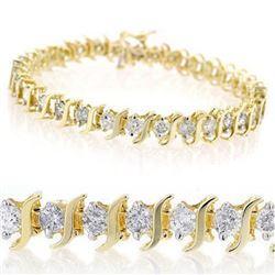 8.0 CTW Certified VS/SI Diamond Bracelet 14K Yellow Gold - REF-560H8A - 13243