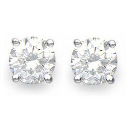 1.0 CTW Certified VS/SI Diamond Solitaire Stud Earrings 14K White Gold - REF-178K2W - 13533