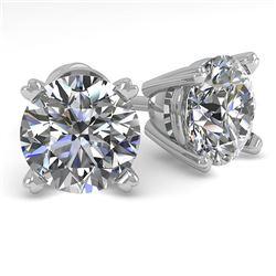 2.01 CTW VS/SI Diamond Stud Designer Earrings 18K White Gold - REF-540T6M - 32304