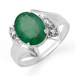 2.32 CTW Emerald & Diamond Ring 14K White Gold - REF-40T2M - 13665