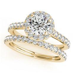 1.71 CTW Certified VS/SI Diamond 2Pc Wedding Set Solitaire Halo 14K Yellow Gold - REF-389Y6K - 30842