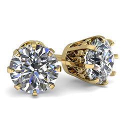 1.53 CTW VS/SI Diamond Stud Solitaire Earrings 18K Yellow Gold - REF-262K5W - 35683
