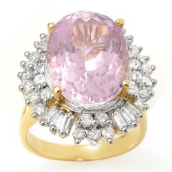 15.75 CTW Kunzite & Diamond Ring 14K Yellow Gold - REF-246W4F - 10600