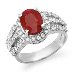 4.70 CTW Ruby & Diamond Ring 18K White Gold - REF-134Y9K - 13152