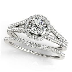 1.46 CTW Certified VS/SI Diamond 2Pc Wedding Set Solitaire Halo 14K White Gold - REF-383K3W - 31043