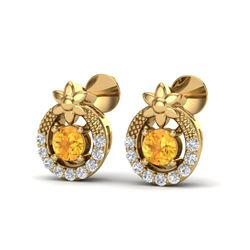 0.40 CTW Citrine & Micro Pave VS/SI Diamond Halo Solitaire Earrings 18K Yellow Gold - REF-23Y3K - 20