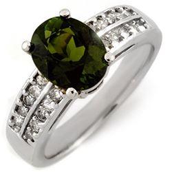 3.0 CTW Green Tourmaline & Diamond Ring 14K White Gold - REF-79Y6K - 11559