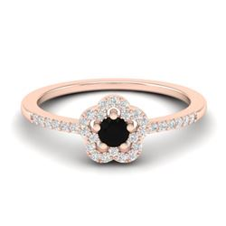 0.40 CTW Micro Pave VS/SI Diamond Ring Moon Halo In 10K Rose Gold - REF-22T8M - 21408