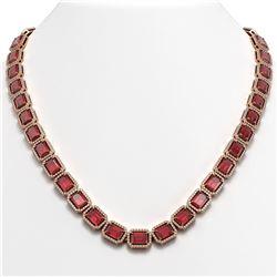 60.49 CTW Tourmaline & Diamond Halo Necklace 10K Rose Gold - REF-1024W8F - 41349