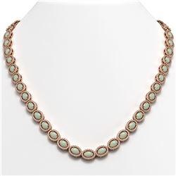 21.21 CTW Opal & Diamond Halo Necklace 10K Rose Gold - REF-555T3M - 40416