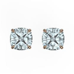 3 CTW Cushion Cut Sky Blue Topaz Designer Stud Earrings 14K Rose Gold - REF-17Y3K - 21765