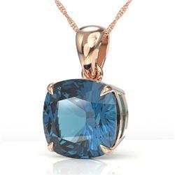 6 Cushion Cut London Blue Topaz Designer Solitaire necklace 14K Rose Gold - REF-31W3F - 21988