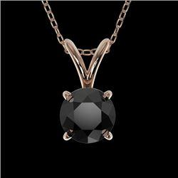0.50 CTW Fancy Black VS Diamond Solitaire Necklace 10K Rose Gold - REF-16W5F - 33157