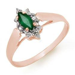 0.25 CTW Emerald Ring 18K Rose Gold - REF-18Y8K - 12906