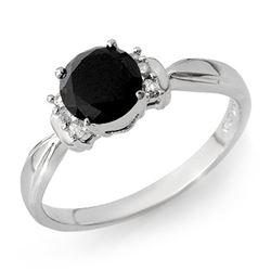 1.10 CTW VS Certified Black & White Diamond Solitaire Ring 14K White Gold - REF-41A5X - 13944