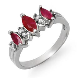 1.0 CTW Ruby & Diamond Ring 10K White Gold - REF-23A8X - 12930