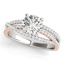 1.15 CTW Certified VS/SI Diamond Solitaire Ring 18K White & Rose Gold - REF-220N4Y - 28161