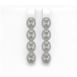 6.08 CTW Oval Diamond Designer Earrings 18K White Gold - REF-1132A4X - 42710