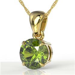 2 CTW Green Tourmaline Designer Solitaire Necklace 18K Yellow Gold - REF-33N3Y - 22027
