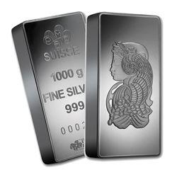 One piece 1 kilo 0.999 Fine Silver Bar PAMP Suisse Fortuna-60721