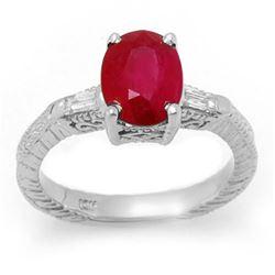 3.70 CTW Ruby & Diamond Ring 14K White Gold - REF-63X8T - 11683