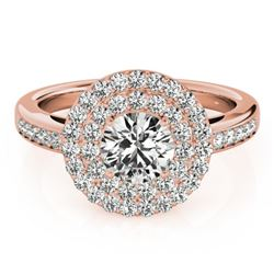 1.6 CTW Certified VS/SI Diamond Solitaire Halo Ring 18K Rose Gold - REF-234W4F - 26459