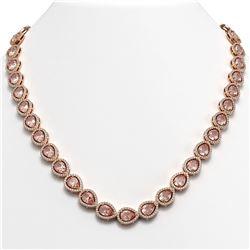 35.13 CTW Morganite & Diamond Halo Necklace 10K Rose Gold - REF-827H8A - 41055