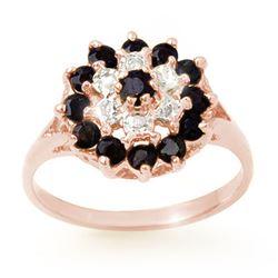 1.02 CTW Blue Sapphire & Diamond Ring 18K Rose Gold - REF-31H5A - 12312